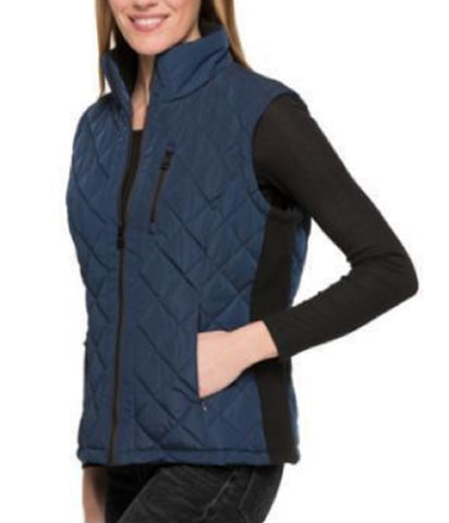 Andrew Marc Women's Quilted Vest with Ribbed Knit side Panels - Ink Blue