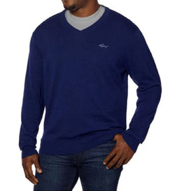 Greg Norman Men's Cotton V-Neck Sweater for Men - Regal Blue