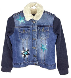 Vigoss Jeans Girl's Faux Sherpa Lined Button Down Denim Jacket - Denim Blue Star