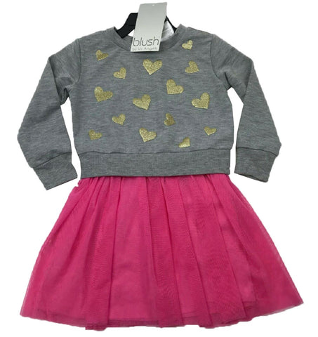 Blush by Us Angels Girls Long Sleeve Dress - Gray/Pink with Gold Stars
