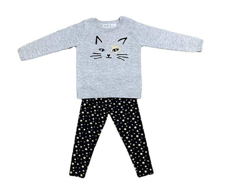 Blush by Us Angels Two Piece Girls Sweater and Legging Outfit Set - Gray Cat