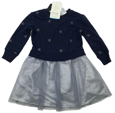 Blush by Us Angels Girls Long Sleeve Dress - Navy Stars