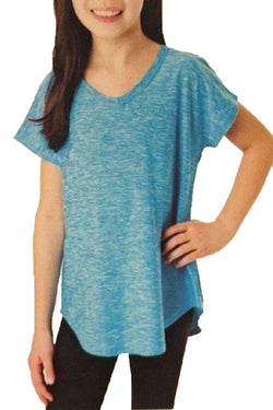 Tuff Athletics Girl's Short Sleeve Active Tee - Bonnie Blue