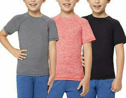 32 Degrees Cool Boy's 3 -Pk S/S Raglan Tee Chili Spacedye/Drk Ht.Grey/Black