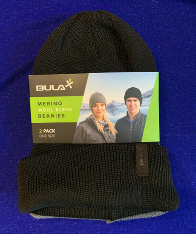 Bula 2 Pack Merino Wool Blend Beanies Black-Grey