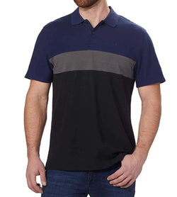 Calvin Klein Men's Short Sleeve Pique Cotton Polo Shirt - Black Combo