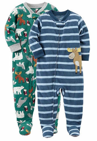 Carter's Boys 2 Pack Footie Sleeper - Moose/Animals