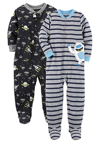Carter's Boys 2 Pack Footie Sleeper Space/Yeti Snowman