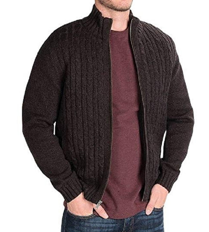 Boston Traders Men's Cable Knit Sweater with Sherpa Lining - Chocolate