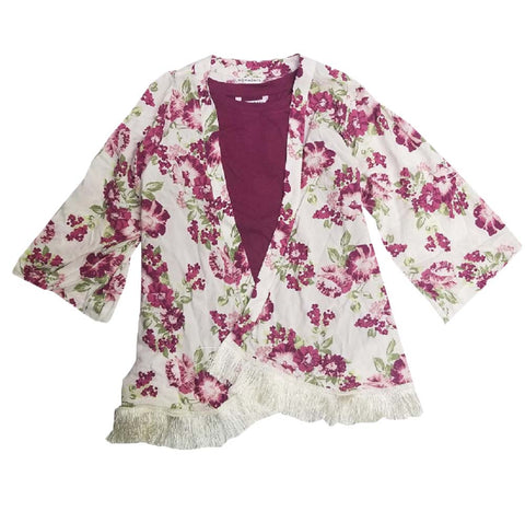 Nowadays Girls 2 Piece Tank Top/Cardigan Set Kimono Purple Flower