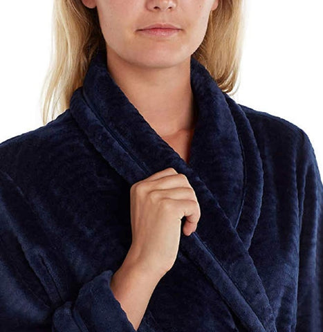 Carole Hochman Women's Soft Plush Fleece Wrap Bath Robe with Wave Detail - Navy