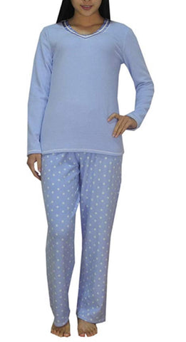 Aria Ladies' Micro Spandex Pajama Set - Blue Dot