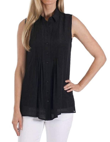 Fever Ladies Sleeveless Blouse with Matching Detachable Camisole - Black