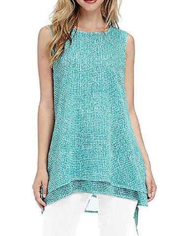 Fever Womens Double Layer Sleeveless Blouse - Aqua Speckle Grid