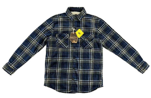 Freedom Foundry Men's Fleece Super Plush Shirt Jacket - Washed Denim Plaid