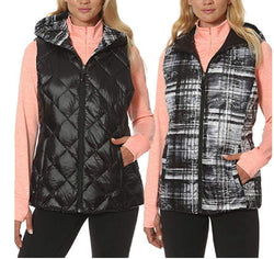 Gerry Women's Reversible Hooded Down Vest - Black/Graph Plaid