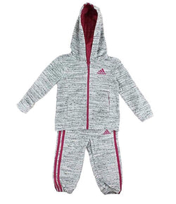 Adidas Baby Girls' Tricot Zip Jacket and Pant Set - Grey Heather/Magenta