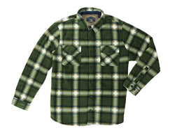 Freedom Foundry Men's Sherpa Fleece Flannel Lined Jacket Shirt - Green/Navy