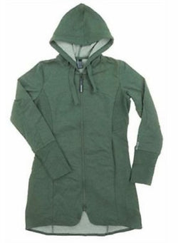 Mondetta Women's Andrea Full Zip Long Length Hooded Jacket - Green Heather