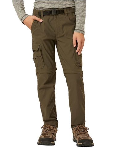 Unionbay Boy's Youth Convertible Lightweight Comfort Stretch Cargo Pants/Shorts - Dark Reptile/Green