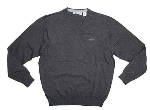 Greg Norman Men's Cotton V-Neck Sweater - Charcoal