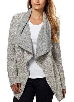 BNCI by Blanc Noir Womens Tweed Drape Front Shawl Collar Cardigan - Grey