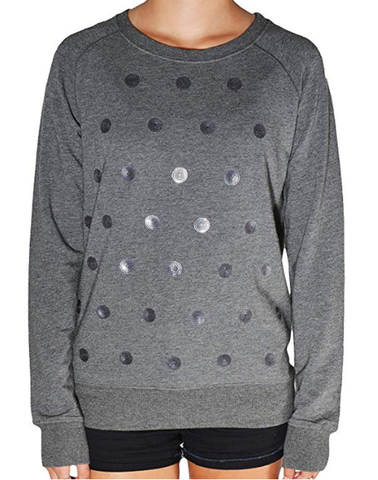 Kersh Ladies Long Sleeve Embellished Top - Charcoal Dot