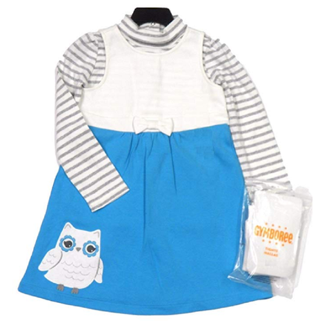 Gymboree Girls 3 Piece Blue Owl Jumper Dress