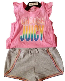 Juicy Couture Girls Summer 2 Piece Tank and Short Set - Pink