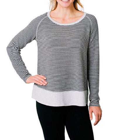 Kersh Ladies' French Terry Boatneck Top - Pebble Grey Mix Stripe