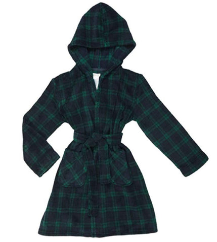 Komar Kids Boys Plush Fleece Robe - Blue Green Plaid