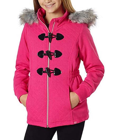 Limited Too Girls Fleece Jacket with Detachable Faux Fur Hood - Pink