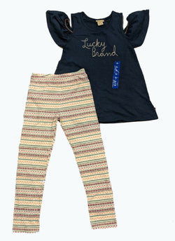Lucky Brand Girls Tank Top/Legging 2pc Set - Navy Top