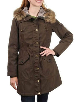 1 Madison Expedition Women's Faux Fur Hooded Parka Jacket - Dark Olive
