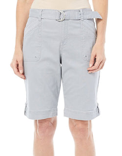 Gloria Vanderbilt Women's Sierra Stretch Twill Short with Belt - Marble Mist Grey