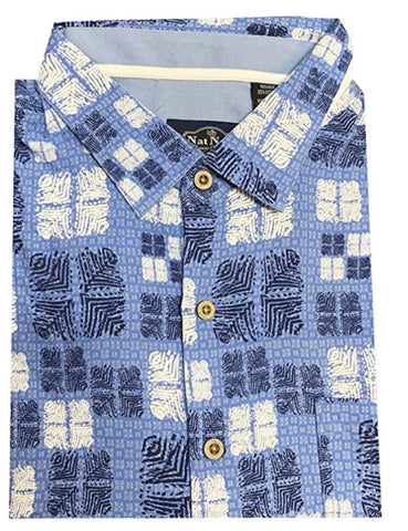 Nat Nast Men's Neat Traditional Fit Print Shirt - Ocean Blue