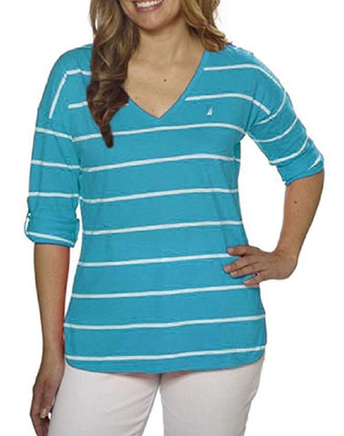 Nautica Ladies' V-Neck Roll-Tab Tee - Scuba Blue/White Stripes