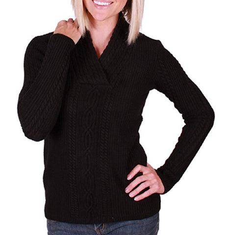 Nautica Womens Shawl Collar Cable Knit Pullover Sweater - Black