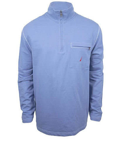 Nautica Mens Half Zip Mock Neck Sweatshirt - Blue