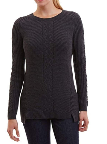 Nautica Women's Single Cable Knit Tunic Sweater - Grey