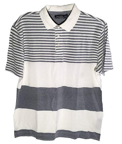 Nautica Men's Short Sleeve Knit Polo Golf Shirt Striped - Whitecap