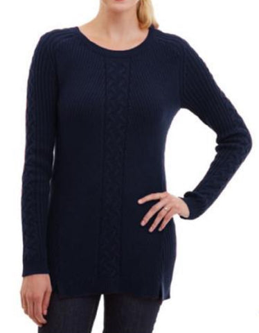Nautica Women's Single Cable Knit Tunic Sweater - Navy