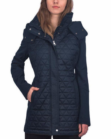 Marc New York by Andrew Marc Women's Pyramid Quilted Softshell Hooded Jacket - Navy