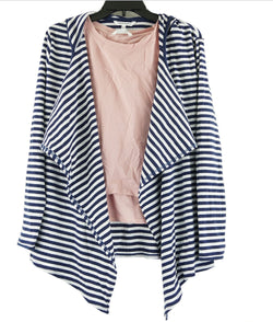 Nowadays Girls 2 Piece Tank Top/Cardigan Set Blue Stripe