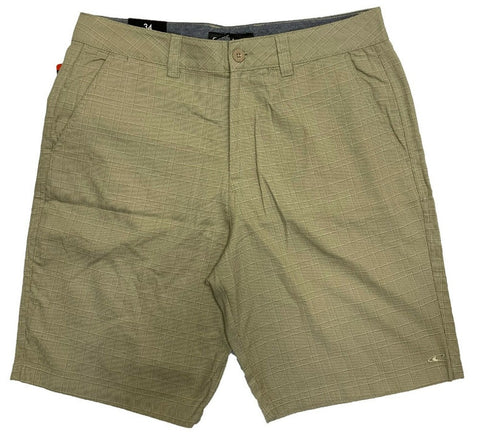 O'Neill Men's Stretch Walk Shorts Khaki Plaid Design