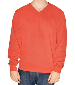 Cutter & Buck Men's V-Neck Long Sleeve Sweater - Orange