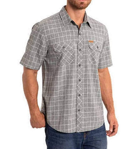 Orvis Men's Short Sleeve Woven Tech Shirt - Grey Windowpane Check