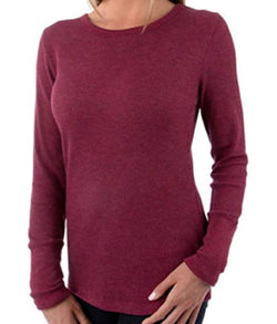 Orvis Ladies' Long Sleeve Thermal Top - Heather Cabernet (Red)