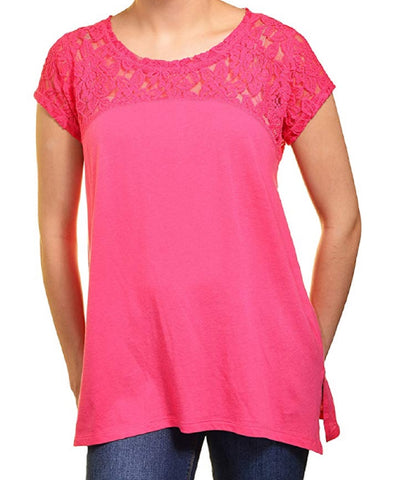 DKNY Jeans Womens Short Sleeve Lace Top - Hot Pink