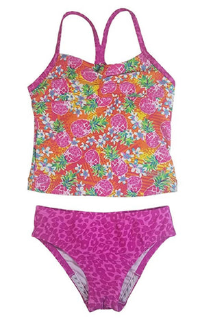 Speedo Girl's Sporty Splice Tankini 2 Piece Swimsuit - Pink/Pineapple